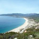 Vue sur la plage du Liamone