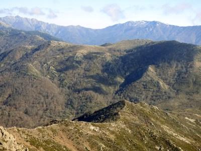 La colline au premier plan porte un muret de pierre sur toute sa crête