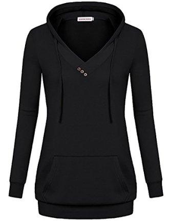 MOOSUNGEEK Cross V Neck Pullover Kangaroo Hoodies Sweatshirt