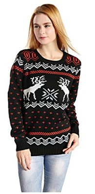 Hanson Women's Patterns Of Reindeer Snowman Christmas Cardigan 2