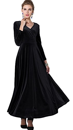Urban CoCo Women long sleeve V-neck Velvet Stretchy Long Dress 5