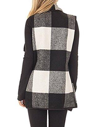 SocoToo Women's Color Block Lapel Open Front Sleeveless Plaid Vest Cardigan 3