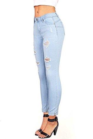 Wax Denim Women's Juniors Distressed Slim Fit Stretchy Skinny Jeans 3