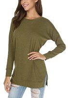 levaca Fall Long Sleeve Side Split Loose Casual Pullover Tunic Tops 2