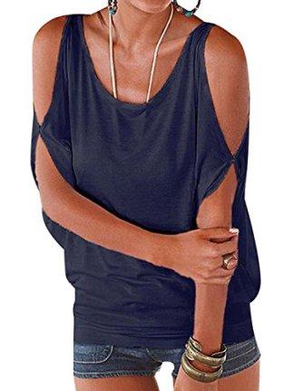 YOINS Women Summer T Shirt Cold Shoulder