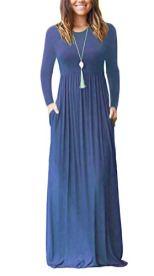 AUSELILY Women Long Sleeve Loose Plain Maxi Dresses 5