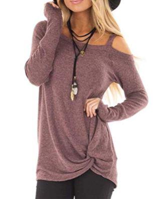 ZILIN Women's Cold Shoulder T-Shirt Long Sleeve Knot Twist 2