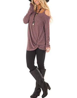 ZILIN Women's Cold Shoulder T-Shirt Long Sleeve Knot Twist 3