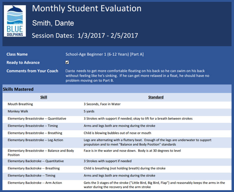 Tracking student progress with monthly evaluations