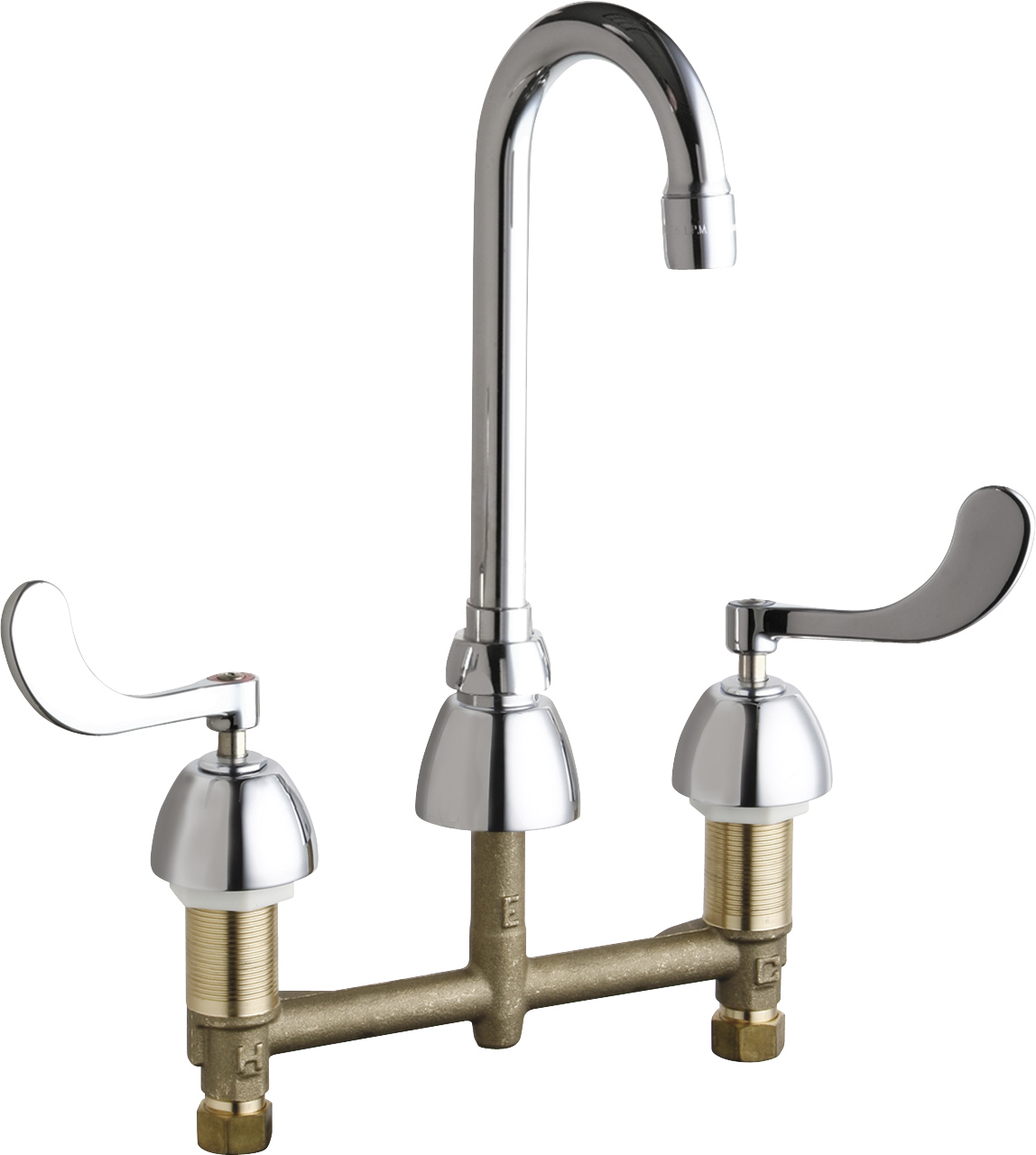 deck mounted manual sink faucet with 8 centers