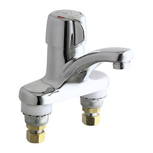 chicago faucets 3300 abcp hot and cold water metering mixing sink faucet