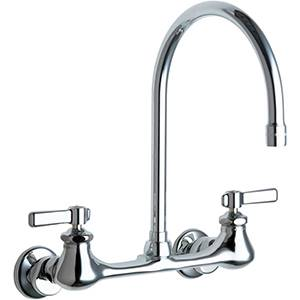 chicago faucets 540 ldgn8ae3abcp kitchen bathroom gooseneck wall mounted faucet