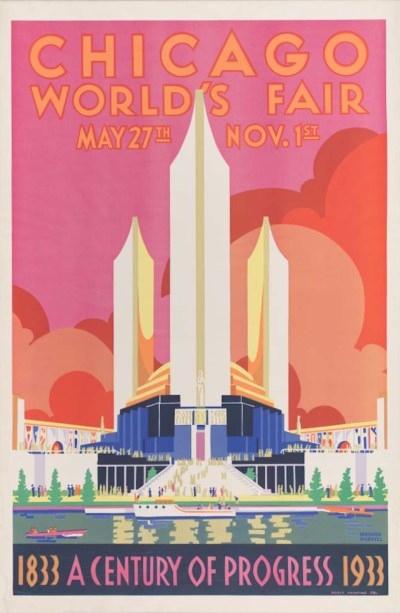 Colorful picture for the 1933 A Century of Progress world's fair