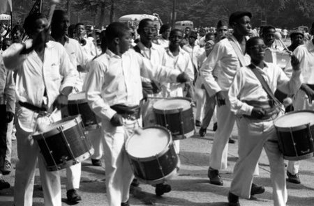 Drum Corps, Bud Billiken Parade, Chicago, Illinois, circa 1960.