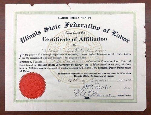 Signed Illinois State Federation of Labor Cetificate of Affiliation