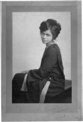 Irene McCoy Gaines black and white seated portrait