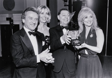 (From left to right) Mr. Victor Skrebneski, Mrs. Owen H. Deutsch and Mrs. Donna L. (Sugar) Rautbord, Chicago Historical Society Donors' Ball Co-Chairs, flanking Mr. James Galanos, fashion designer who received the first Costume Committee Award for Design Excellence in a special ceremony at the Donors' Ball, Chicago, Illinois, November 20, 1992.