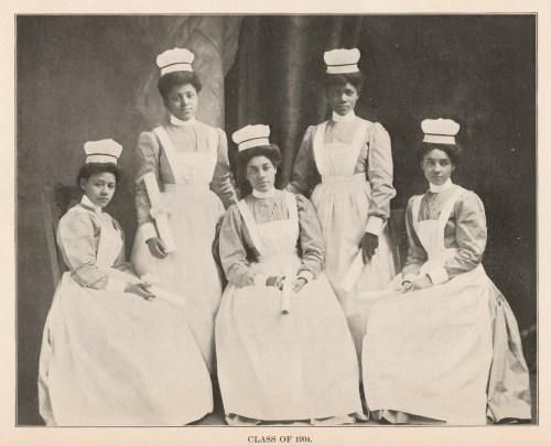 Five Black nurses in 1904 nurse uniforms