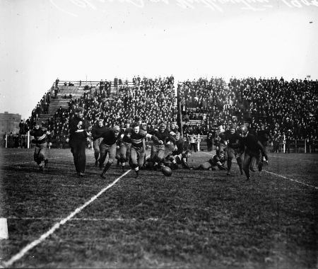 A football game between the University of Chicago and Northwestern University at Marshall Field (renamed Stagg Field) at East 57th Street and South Ellis Avenue on the UChicago campus in the Hyde Park community area, 1909. SDN-055873, Chicago Sun-Times/Chicago Daily News collection, CHM