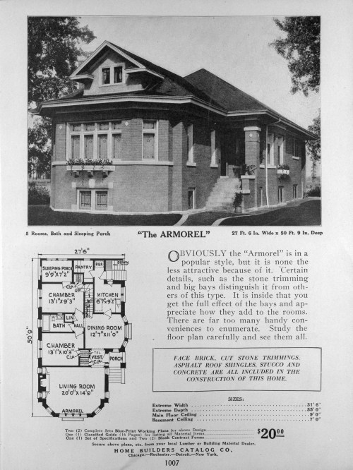 The Armorel, picture, floor plan, and text describing a bungalow from Home Builders Catalog