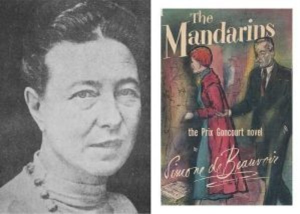 Left: headshot of Simone de Beauvoir; right: book cover of The Mandarians with an illustration of a man and woman