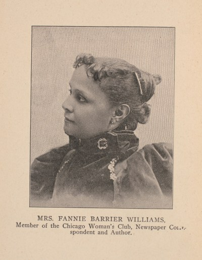 Portrait of Fannie Barrier Williams from shoulders up, scanned from book