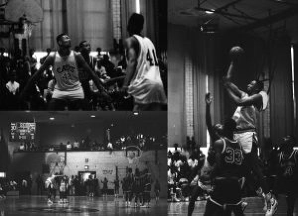 Three black and white photos showing players in action during a high school basketball game