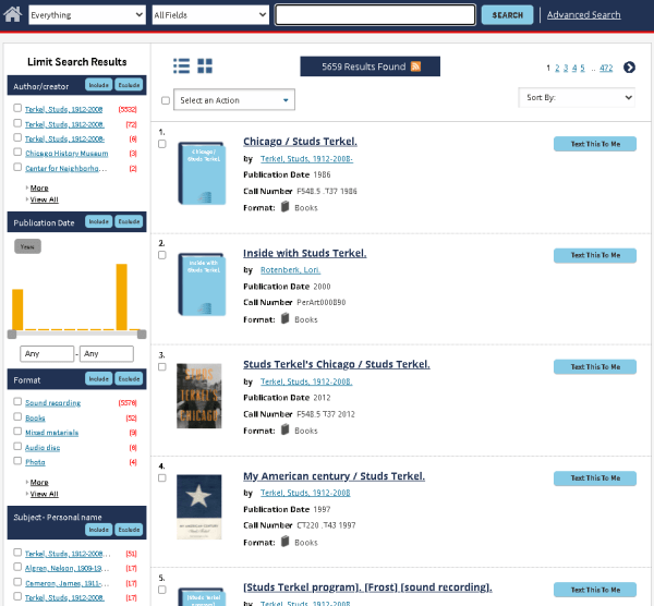 Screenshot of new archie catalog search results