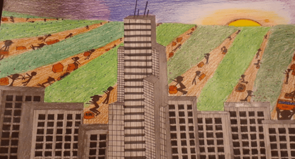 Drawing of city buildings in foreground with migrant workers laboring in a field behind it