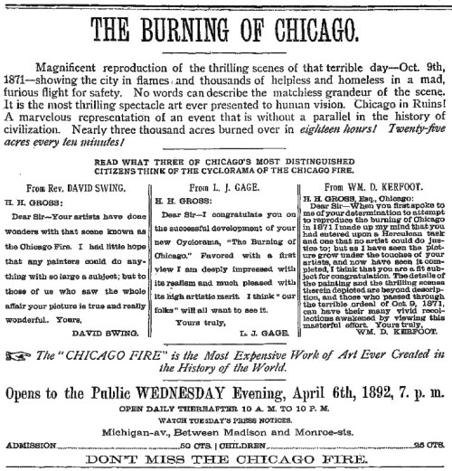 Newspaper advertisement for Chicago Fire Cyclorama from 1892