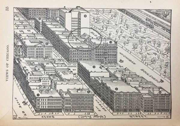 Illustration of aerial view of Chicago at intersection of Adams Street and Michigan