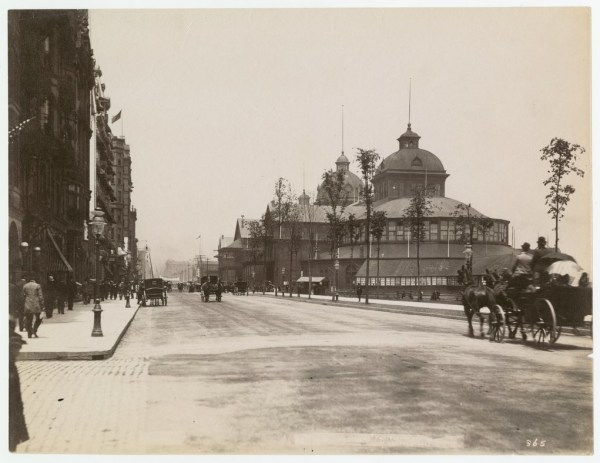 View of Michigan Avenue, c. 1890, a horse-drawn carriage can be seen in foreground a multi-level building with a cupola on top in background