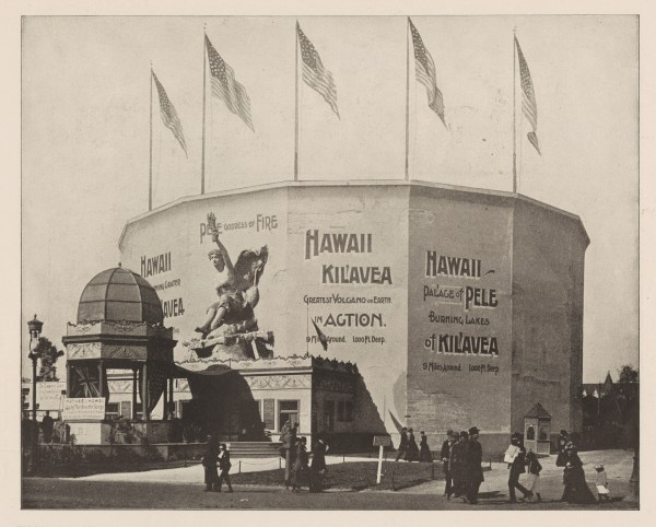 Black and white photograph showing exterior view of the building for the cyclorama of the Hawaiian volcano of Kilauea