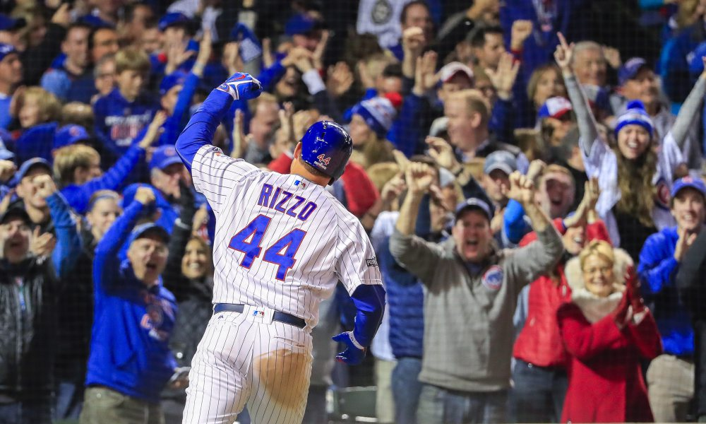 epa05598670 Chicago Cubs first baseman Anthony Rizzo reacts after hitting a solo home run against the Los Angeles Dodgers in the fifth inning of the MLB National League Championship Series (NLCS) game six between the Los Angeles Dodgers and the Chicago Cubs at Wrigley Field in Chicago, Illinois, USA, 22 October 2016. The winner of the series will play the Cleveland Indians in the World Series. EPA/TANNEN MAURY ORG XMIT: ELX34