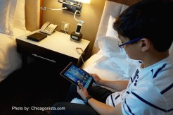 iPad inside our Loews Chicago Hotel room