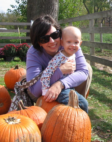 Donna and Mama and pumpkins