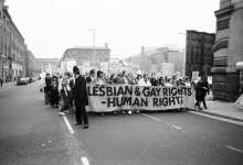 Protesters in Manchester, U.K., 1988.