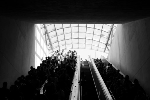 A crowd moves through the Stadium-Armory Metro in Washington, D.C., on its way to 50th anniversary festivities for the March on Washington. Photo by Sophia Nahli Allison.