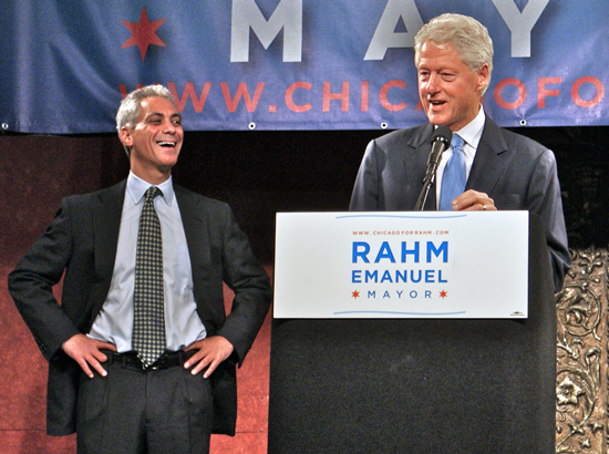 Rahm Emanuel and Bill Clinton