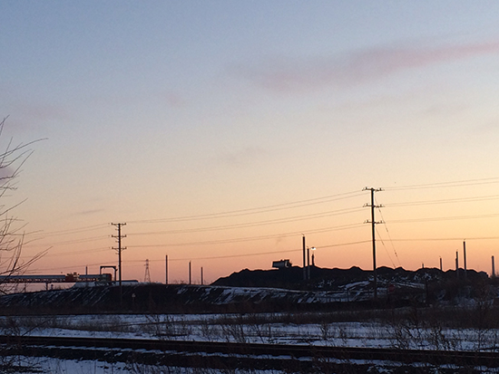 Petcoke piles at the KCBX Terminal on Chicago's Southeast Side