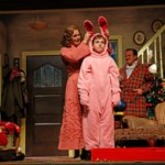 (from left) Theo Moss plays Randy, Danni Smith plays the mother, Michael Harp is Ralphie and Michael Accardo plays the Old Man in A Christmas Story – The Musical. Aurora's Paramount Theatre has turned one of the most iconic holiday movies ever into a larger-than-life musical comedy blockbuster. Performances run through January 3, 2016. Tickets: paramountaurora.com or 630.896.6666. Photo credit: Liz Lauren