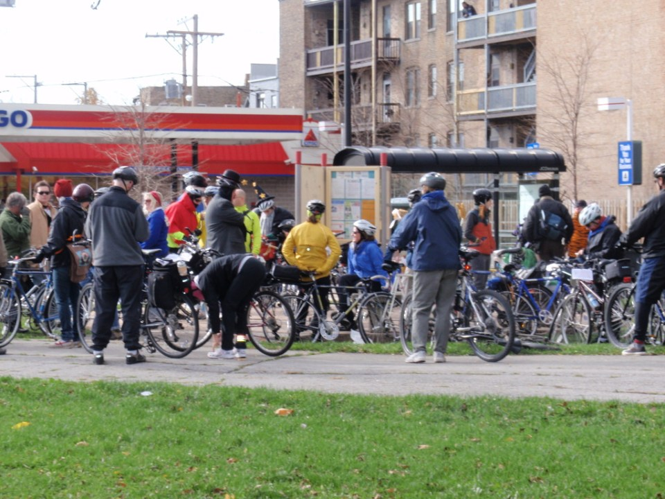 Riders gather at Humboldt Park to start the Tour of West Town