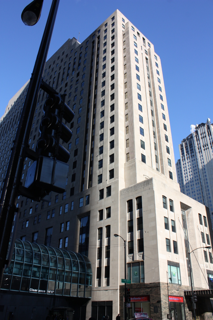 Chicago Daily News Building at 400 W Madison St, a 1920s Art Deco building by Holabird and Root.