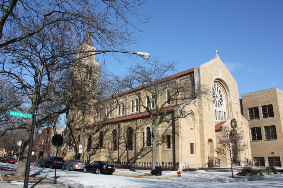Our Lady of Pompeii Roman Catholic Church at 1224 W Lexington St, a Romanesque Revival church by Worthmann and Steinbach from the 1920s.