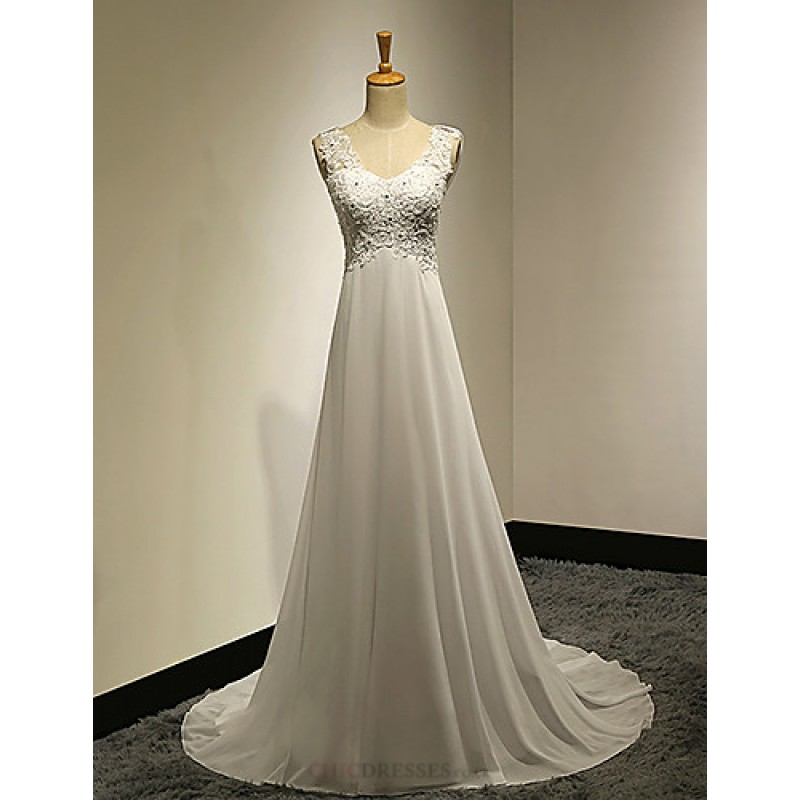 A Line Petite Plus Sizes Wedding Dress White Sweep