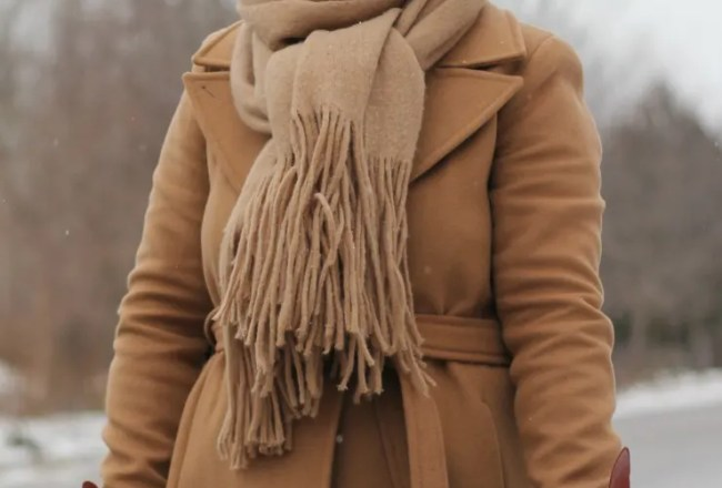 long camel coat, mackage babie coat