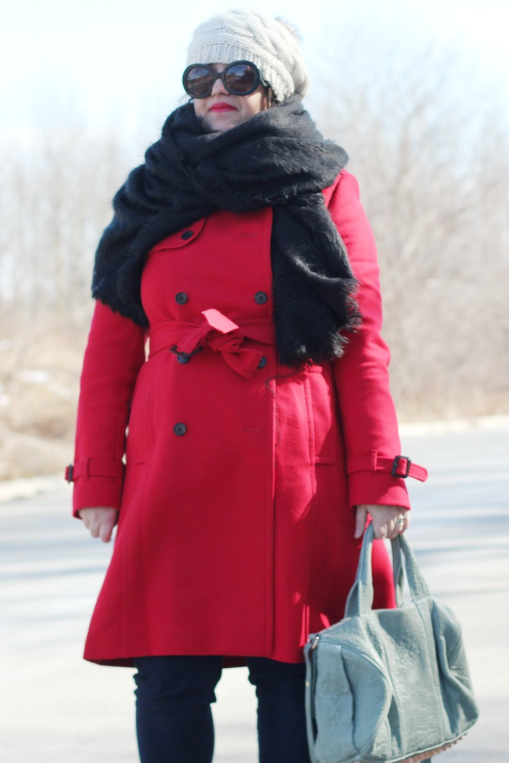jcrew red icon trench in wool