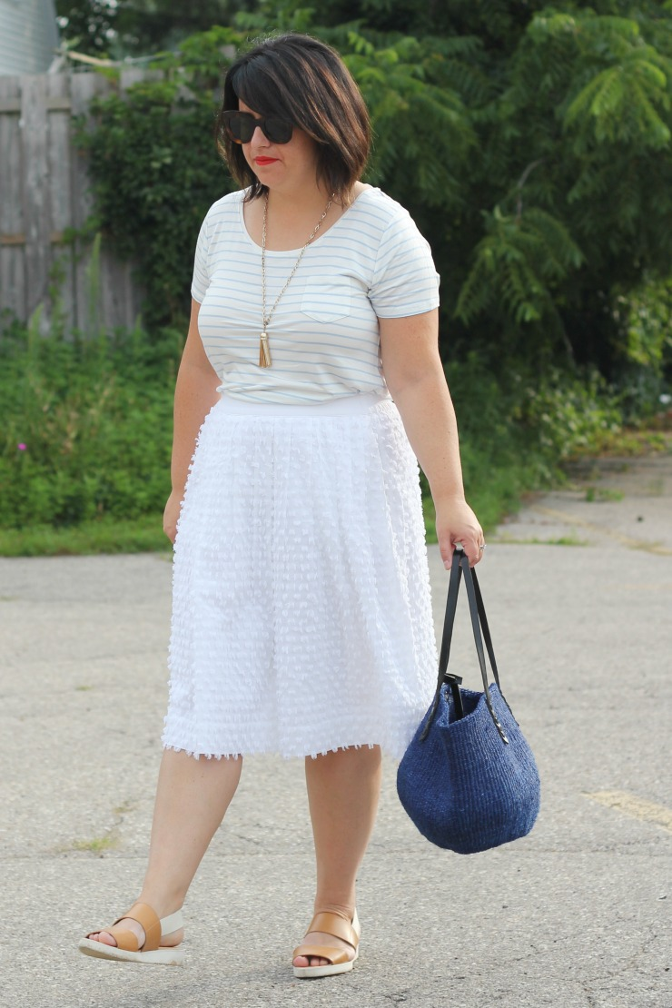pale stripe tee outfit