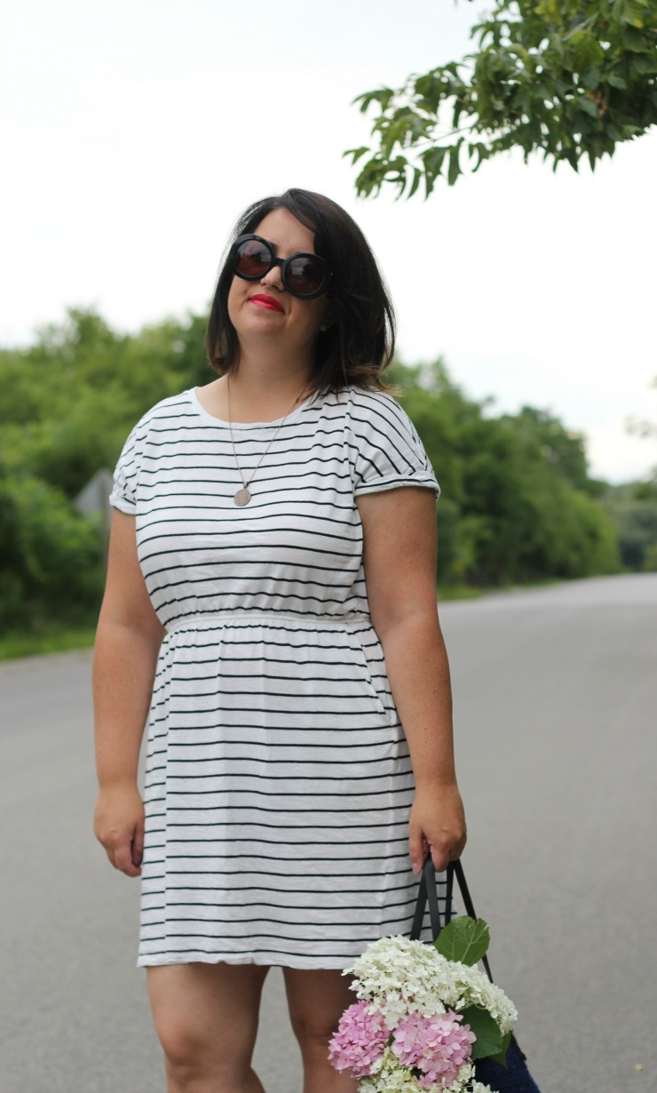 stripe hm beach dress