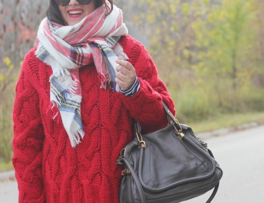 red sweater Christmas outfit